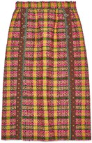 Gucci Check tweed skirt with silk trims