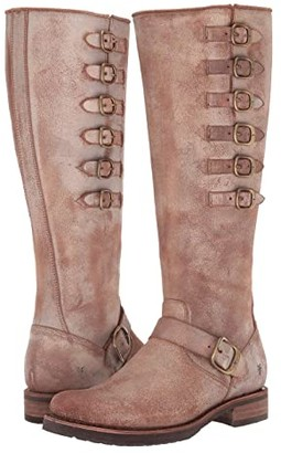 Frye Veronica Belted Tall (Chocolate Waxed Vintage Suede) Women's Boots