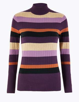 Marks and Spencer Striped Funnel Neck Slim Fit Jumper