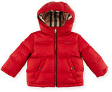 Burberry Rio Hooded Puffer Jacket, Military Red, Size 6M-3Y