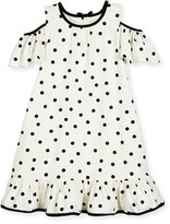 Kate Spade Girls' Cold-Shoulder Polka-Dot Dress, White/Black, Size 2-6