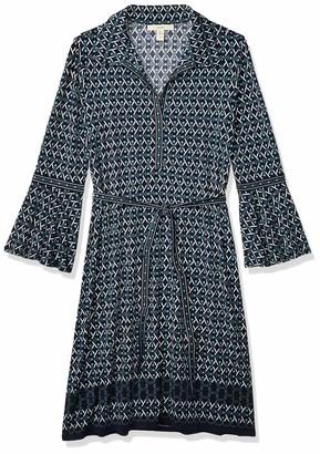 Lark & Ro Women's Knit Border Print Collared Dress