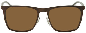 HUGO BOSS Brown Matte Rectangular Sunglasses