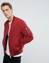 Asos Bomber Jacket With Ma1 Pocket In Red