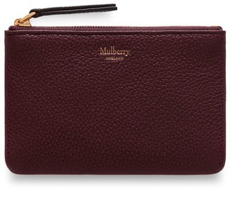 Mulberry Zip Coin Pouch Burgundy Small Classic Grain