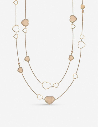 Chopard Golden Hearts 18ct rose-gold and 1.21ct white-diamond sautoir necklace