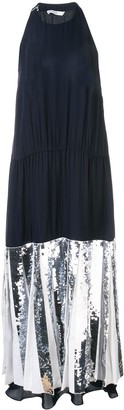 Tibi Claude sequin panel halterneck dress