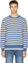 A.P.C. Blue and Grey Striped Crawley Sweater