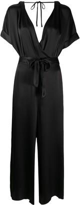 Semi-Couture Wrap Front Plunge Jumpsuit