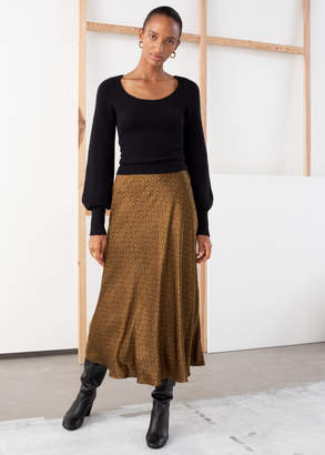 And other stories Chain Print Satin Midi Skirt
