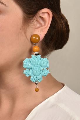Angela Caputi Turquoise Floral Earrings