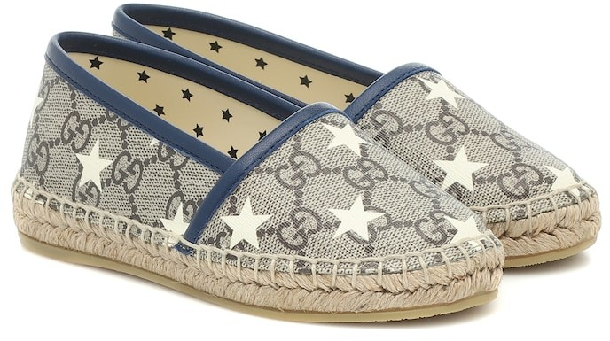 Gucci Kids GG leather-trimmed espadrilles