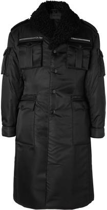Prada Shearling-Trimmed Belted Padded Nylon-Gabardine Trench Coat