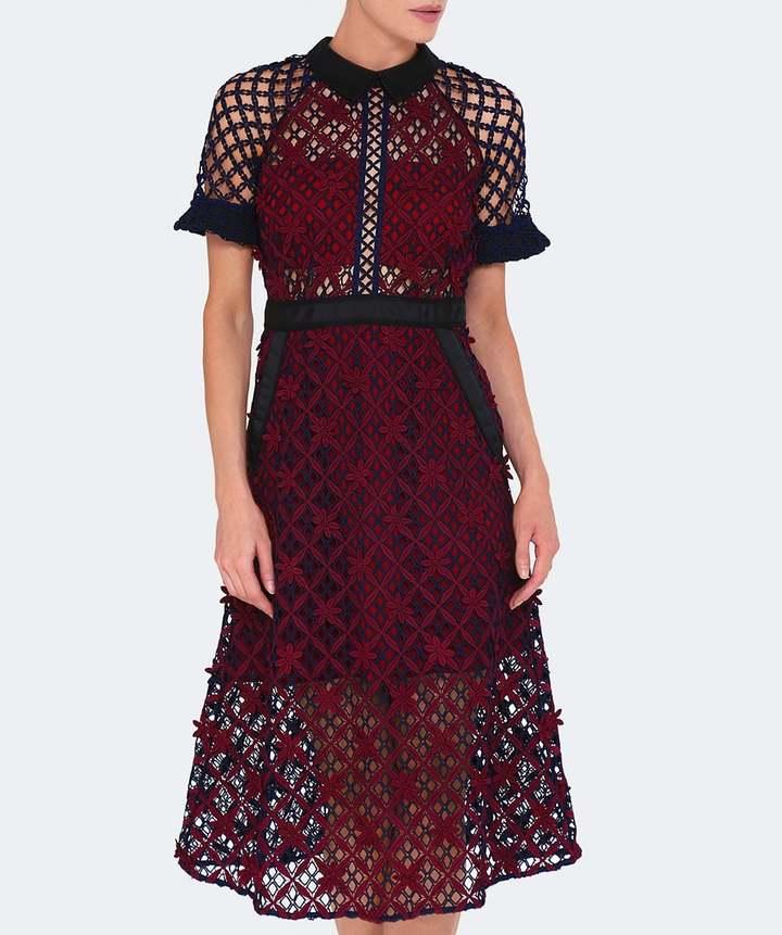 Self-Portrait Floral Grid Midi Dress