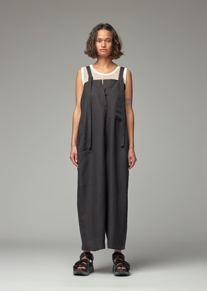 Y's by Yohji Yamamoto Women's Adjustable Buckle Strap Overall Jumpsuit in Black Size 2 Linen/Rayon