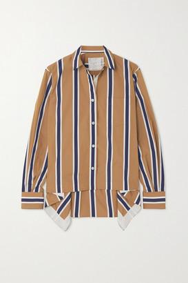 Sacai Asymmetric Striped Poplin Shirt - Beige