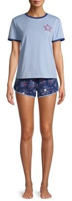 EV1 from Ellen DeGeneres Star Print Short Sleeve Top & Shorts Pajama Set Women's