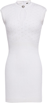 Balmain Cutout Ribbed And Pointelle-knit Mini Dress