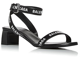 Balenciaga Women's Ankle Wrap Mid Heel Sandals