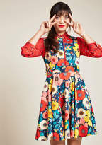 ModCloth Hour by Flower A-Line Dress in Retro Blossom in 3X - Sleeveless Fit & Flare Knee Length