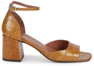 Souliers Martinez Mina Croc-Embossed Leather Heeled Sandals