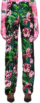 Richard Quinn Black Floral Embellished Trousers