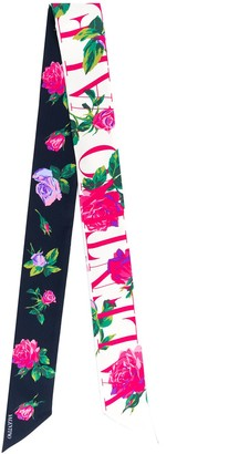 Valentino Two-Tone Floral Scarf