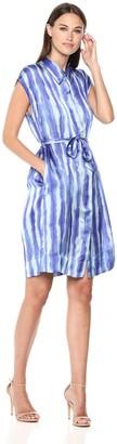 Kenneth Cole Women's Short Sleeve Collared Shirt Dress