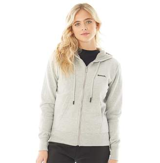 Bench Womens Belleville Zip Through Hoodie Grey Marl