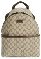 Gucci Girl's Logo Canvas Backpack - Brown