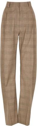 Eftychia Basic Checked Straight-leg Wool Trousers