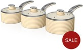 Swan Retro Set Of 3 Saucepans - Cream