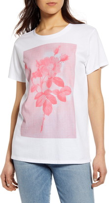 Lucky Brand Monochrome Rose Graphic Cotton Tee