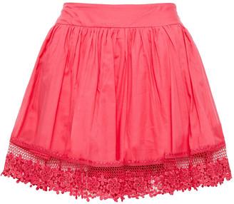 Charo Ruiz Ibiza Naty Crocheted Lace-trimmed Cotton-blend Voile Mini Skirt