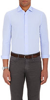 Boglioli Men's Solid Poplin Shirt-BLUE