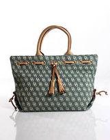 Dooney & Bourke Green Monogram Canvas Leather Trim Double Handle Handbag