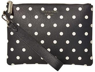 Kate Spade Spencer Cabana Dot Small Pouch Wristlet (Black/Multi) Handbags