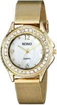 XOXO Women's XO5551 Gold-Tone Mesh Bracelet Rhinestones Accent Watch