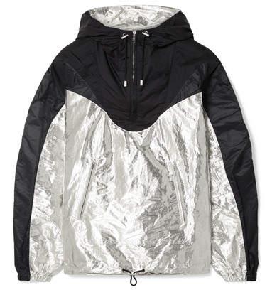Isabel Marant Richie Hooded Two-tone Metallic Shell Jacket - Black