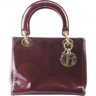 Christian Dior Lady Burgundy Patent leather Handbags