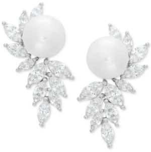 Arabella Cultured Freshwater Pearl (10mm) & Swarovski Zirconia Drop Earrings in Sterling Silver