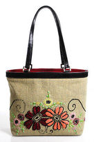 Isabella Fiore Multi-Color Small Flower Woven Beaded Tote Handbag