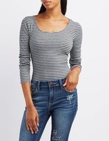 Charlotte Russe Striped Lattice-Back Bodysuit