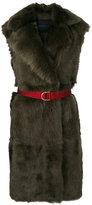Blancha - sleeveless long fur coat - women - Leather/Polyamide/Polyester/metal - 42