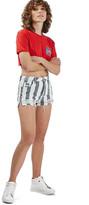Topshop Stripe Distressed Denim Shorts