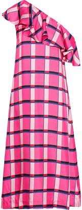 Paper London Chi Chi One-shoulder Checked Silk-twill Midi Dress