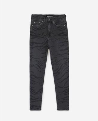 The Kooples High-waist faded black jeans with zebra print
