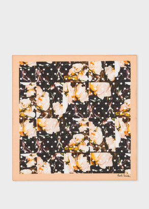 Paul Smith 'Polka Dot And Orchid' Print Cotton Pocket Square