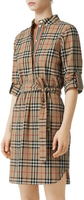 Burberry Giovanna Vintage Check Long Sleeve Stretch Cotton Shirtdress