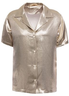 Maje Metallic Silk-blend Shirt